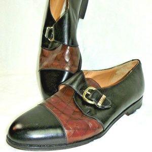 Mezlan Shoes 9 M Cap Toe Monk Strap Bonn Leather